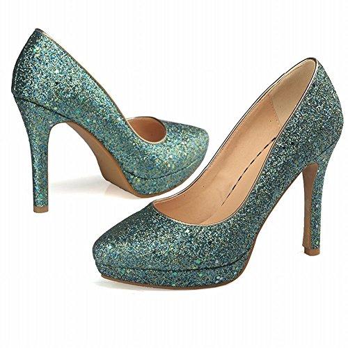 Carolbar Women's Bling Bling Sequins Platform High Heel Dress Court Shoes Green Hxr9hpYZ