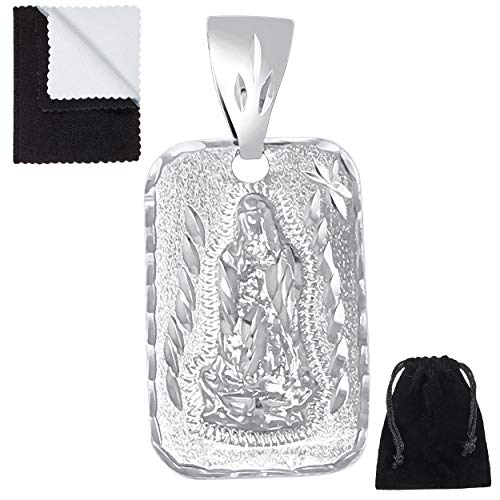The Bling Factory Rhodium Plated 21mm x 34mm Guadalupe Virgin Mary Diamond-Cut Pendant