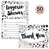 Lingerie Shower Invites & Matching Thank You Notes ( 50 of Each ) Set with Envelopes Girls Night Out Engaged Bachelorette Party Fun Fill-in Guest Invitations & Folded Thank You Cards Excellent Value