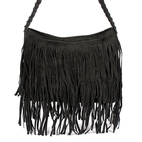 Celebrity Fringe Tassel Faux Suede Shoulder Messenger Cross Body Tote Handbag