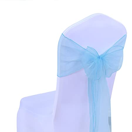 Excellent 25Pcsky Blue Organza Chair Sashes Bows Chair Cover Sash For Wedding Party Or Banquet Decor Interior Design Ideas Clesiryabchikinfo
