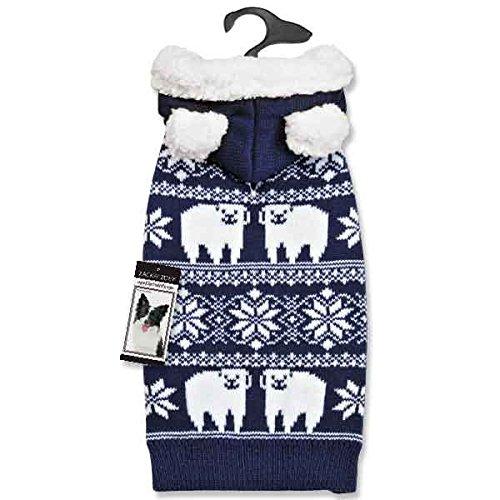 bluee L bluee L Zack & Zoey Elements Polar Bear Knitted Hood Sweater, Large