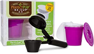 Perfect Pod EZ-Cup 2.0 Starter Pack | Reusable K-Cup Coffee Pod Capsule with 25 Disposable Paper Filters (Starter Pack + Coffee Scoop)