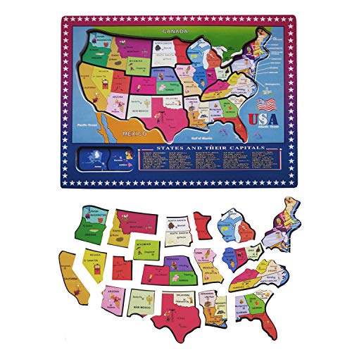 Jamohom 21 Pieces USA Map Puzzle Wooden Geography Jigsaw Puzzle Educational  Toys for 2 3 Years Old Children