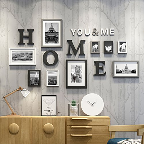 Home@Wall photo frame Photo Gallery Frame Set Of Wall With Usable Artwork And Family, Set Of 9 ( Color : E ) by ZGP