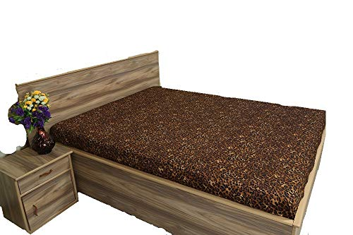 400 Thread Count, 100% Egyptian Cotton, 1 Fitted Sheet Only 15 Inch deep Pocket of Fitted Sheet, Long - Staple Combed Pure Natural Cotton Sheet, Soft & Silky Sateen Weave (Leopard Print,Twin Size) (Sheets Leopard Cream)