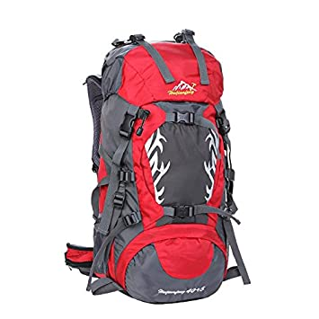 40+5L senderismo mochila nylon impermeable ligero mochila montaña mochila exterior multifunción viajar escalada Pack H65 x L31 x T21 CM , red: Amazon.es: ...