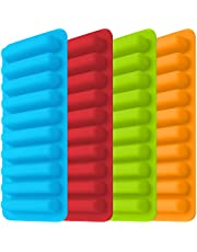 Ice Tube Making Trays, Perfect Ice Cube Sticks Molds for Small Mouth Sport Water Bottles, Bottled Soda, IHUIXINHE Silicone Ice Stick Tray Set of 4 Trays, 10 Sticks (Classic)