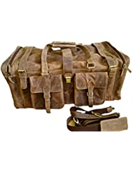 28 Inch Real Leather Vintage Travel Bag Large Gym Duffel Brown Mens Holdall Weekend Overnight Luggage