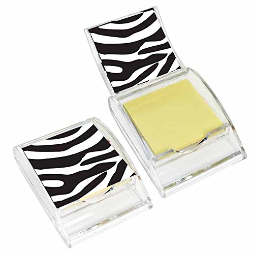 Zebra Print Sticky Note Holder - Wildlife Animal Theme Design - Stationery Gift - Office Business School Supplies