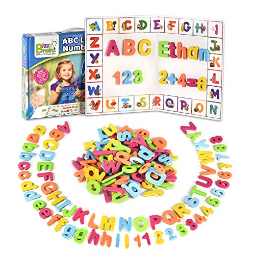 BizzyBrainz ABC Magnets & Magnet Letter Board – 105 Letters, Numbers & Symbols for Hours of Educational Fun – Fridge Magnets for Kids with Storage Bag & 2 Bonus eBooks (Number Magnetic Set)