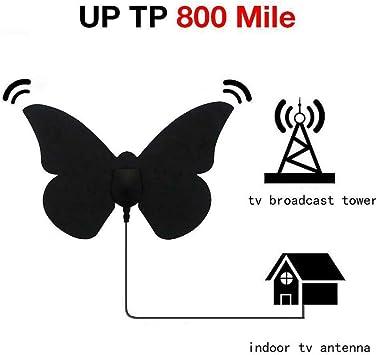 BangHaa Mariposa Antena de TV Digital Antena Duradero, la Mariposa de 800 Millas de televisión Antena de Interior con Amplificador de señal de Refuerzo, de 17 pies coaxial Adaptador de alimentación /: