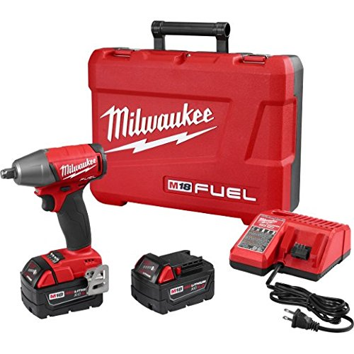 Milwaukee 2755B-22 M18 FUEL 1/2'' Compact Impact Wrench w/ Friction Ring Kit, w/ 5.0 AH Battery. Torque = 220 Ft-lbs