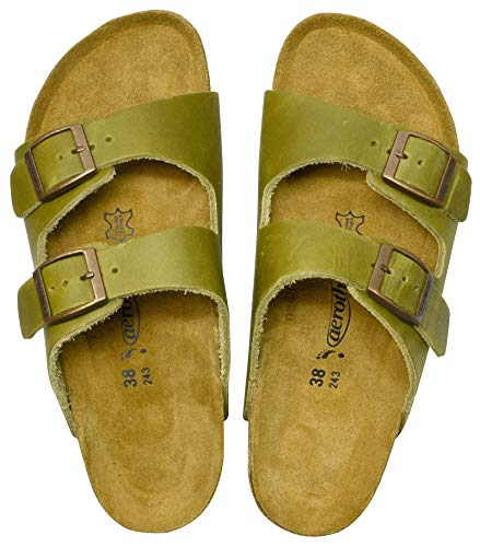 AEROTHOTIC - Genuine Suede Leather and Cork Footbed Sandals for Women (US-Women-9, Vista Green)