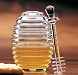 Clear Acrylic Bee Hive Honey Jar Pot with Lid Server Dipper Dripper Gift