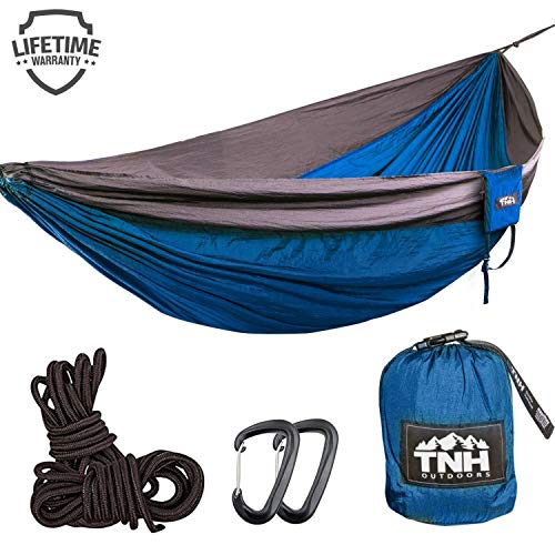 TNH Outdoors Single Camping Hammocks - Lightweight Nylon Portable Hammock, Best Parachute Hammock for Backpacking, Camping, Hiking, Beach with Free Heavy Duty Carabiner Clips ()