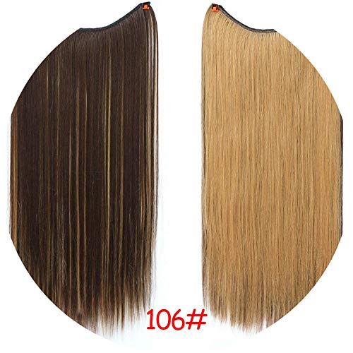 Wire No Clips in Hair Extensions Secret Fish Line Hairpieces Silky Straight real natural,#12,22inches -