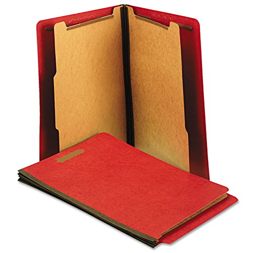 Red End Tab Folder (Universal Pressboard End Tab Folders, Letter, Six-Section, Bright Red, 10/Box)