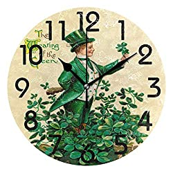 Dozili Stylish St. Patrick's Day Vintage Leprechaun Print Round Wall Clock Arabic Numerals Design Non Ticking Wall Clock Large for Bedrooms,Living Room,Bathroom