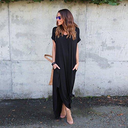 Minetom Mujer Verano Largo Vestido Cabestro Vestidos Sin Mangas Playa Casual Vestido De Fiesta De Graduación Negro