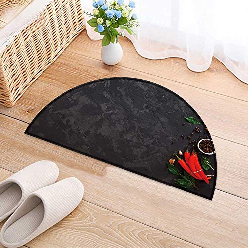 Semi-Circular Living Room Rug top Spices and hot Peppers on Vintage Background Bath Mat Shower Rug Bedroom Carpet Floor Mats W31 x H20 INCH