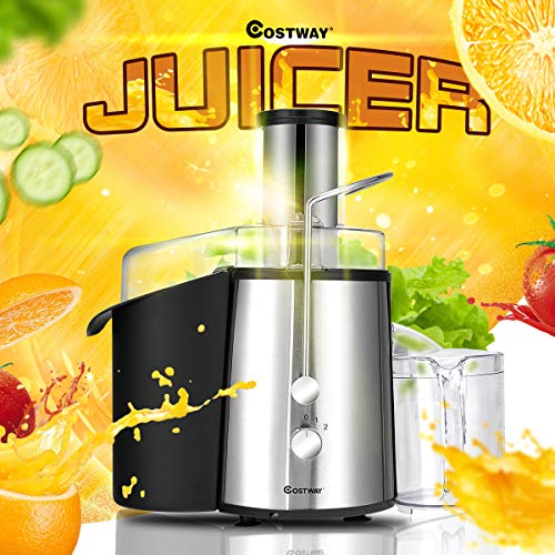 COSTWAY Juice Extractor, 75MM Wide Mouth Stainless Steel Juicer Machines, 2-Speed Setting High Speed Masticating Juicer Machine for Fruits and Vegetable with Slag Pot, Juice Jug (Black+Silver)