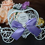 SODIAL Candy box gift organizer romantic carriage candy chocolate box bride bridesmaid wedding flowers party gifts Purple