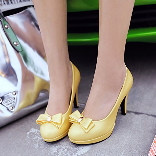 YE Damen Rockabilly Pumps Stiletto High Heels Plateau mit Schleife und 10cm Absatz Elegant Party Schuhe Gelb