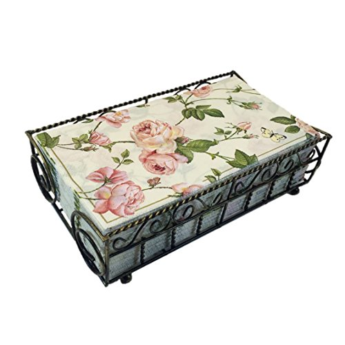 32ct Natural Linen (Garden Gate Antique Brass Guest Towel Caddy with 32 Count 3-Ply Paper Guest Towel Napkins, Rambling Rose)