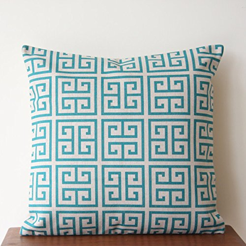 TAOSON Vintage Geometric Tower Lattice Greek Key Square Linen Cotton Indoor Outdoor Throw Pillow Cover Cushion Cover Pillow Case (18