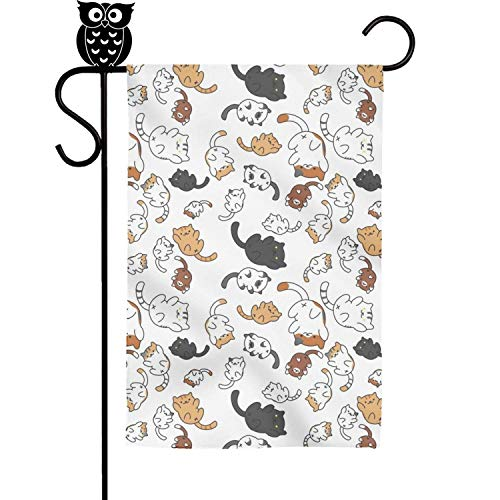 Quinnteens on line 2018 Cartoon Lovely Big and Small cat Home Garden Flag Yard Flag Summer Yard Outdoor Decorative 12x18 inch