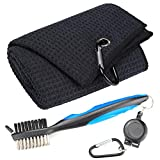 Mile High Life Microfiber Waffle Pattern Golf Towel   Club Groove Cleaner   Foldable Divot Tool with Magnetic Ball Marker   Variety Combo Package
