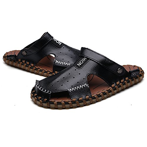 Brown Beach Sole Abrasion Size 5MUS Genuine Sunny Backless Slippers Resistant Switch Breathable Perforation Sandals Black amp;Baby Slip 7 Leather Non Men's Color EwwqATv