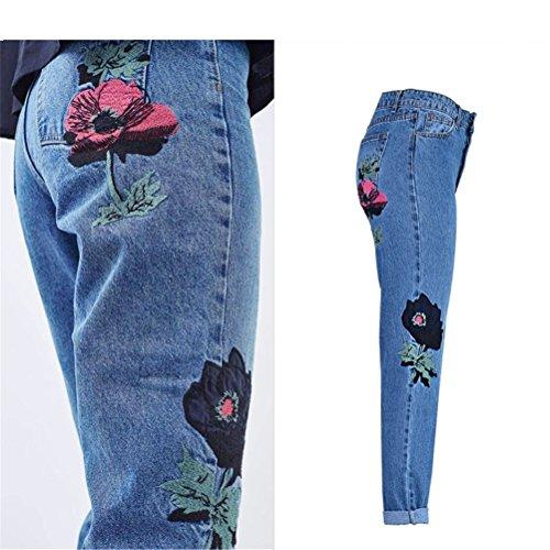 Boyfriend Jeans Pantalon Haute Grande Brod Taille Femme Taille Droite Coupe Fleuri FuweiEncore Jeans Bleu Large 0wvzqTxAn8