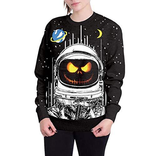 iTLOTL Couple 3D Grimace Pumpkin Print Halloween Long Sleeve Hoodie Sweater Top(Black-1,US-12/CN-L) by iTLOTL