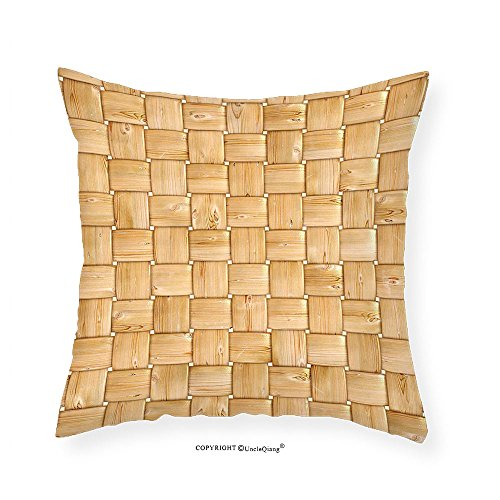 VROSELV Custom Cotton Linen Pillowcase Beige Decor Collection Illustration of Thic Woven Oak Wood Patterns Natural Simple Harvest Style Contemporary Deco Bedroom Living Room Dorm Brown (Rocker Woven Green)