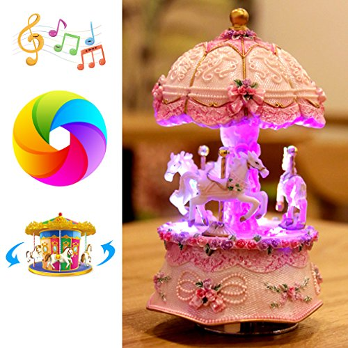 Musical Horses Carousel - Amperer Carousel Music Box Luxury Colorful LED Light Luminous Rotating 3-Horse Carousel Horse Wind-up Movement Musical Box Best Birthday Christmas Gift (C1 Pink)