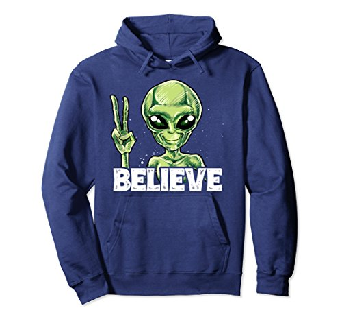 Unisex Alien Believe Hoodie UFO Outer Space Head Vintage Tee Gifts XL: Navy Believe Sweatshirt