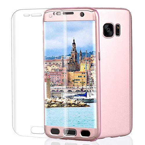 Samsung Galaxy S7 Edge Case, VPR 3 in 1 Ultra Thin Full Body Protection Slim Hard Premium Luxury Cover Shock Absorption PC [With TPU and Film Screen Protector] case for Galaxy S7 Edge 2016 (RoseGold)
