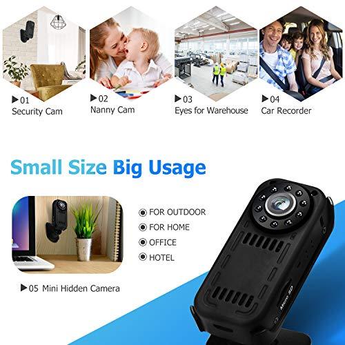 Wireless Mini WiFi Camera Indoor, ENSTER HD Nanny Cam with Motion Detection, Infrared Night Vision, Loop Recording Small Indoor Security Camera for Home and Office Built-in Battery
