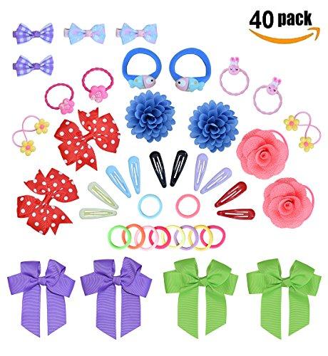 - 40PCS Girls Hair Accessories Set, 20Pcs Cute Elastic Hair Bands +20Pcs Princess Hair Clip For Girl's Birthday Christmas Gift-A