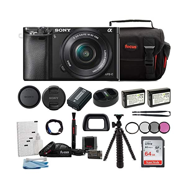 518J4KmL1vL. SS600  - Sony Alpha ILCE-6000L/B a6000 Digital Camera with 16-50mm Lens Bundle with Accessory Bundle (Black)