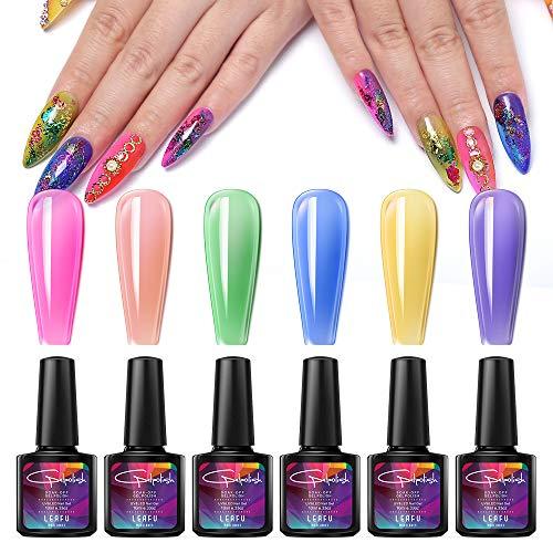 Crystal Rainbow Summer Jelly Gel Nail Polish Set Soak Off UV LED Blue Pink Orange Green Yellow Purple Varnish With Gift Box 10ml 0.33 OZ by Modelones