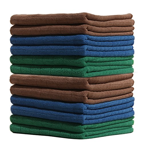 LUCKISS Windowpane Microfiber Kitchen Towels 12 Pack Super Soft Ultra Absorbent Quick Drying Dish Tea Towels Lint Streak Free Kitchen Bar Mop Cleaning Dust Cloths 15 x 25 Inch