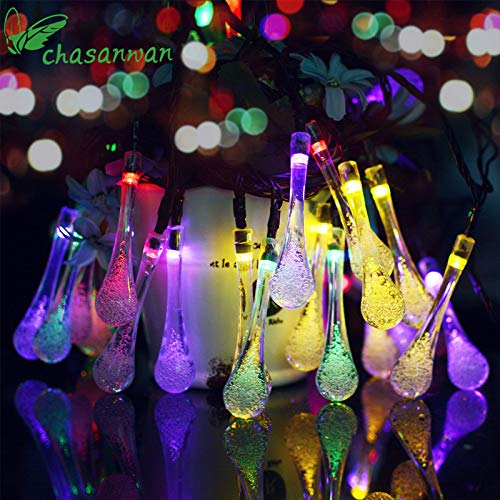 Ornament Christmas Christma Ornaments CHASANWAN Solar lights 4.8 m 20 LED LED Strip Light of water droplets christmas decorations New Year's ornaments lights outdoor. (Random) by HATABO