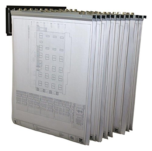 Adir Corp. Pivot Wall Rack with Hangers for Blueprints - Plans, Black with 12 30'' File Hanging Clamps by Adir Corp.