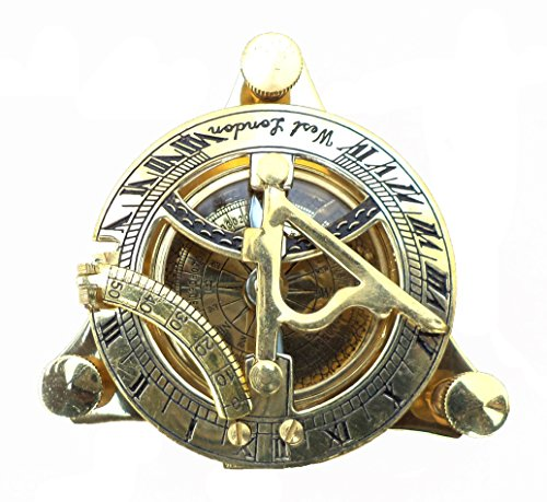 Maritime Collectible Sundial Compass Vintage Navigational Compass Shiny Brass