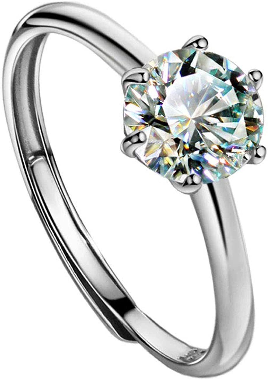 Moissanite Engagement Rings Classic Solitaire Ring with Square Band Sterling Silver Moissanite Solitaire Ring Promise Ring Anniversary Gift