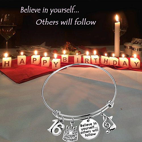 MAOFAED 21st birthday bracelet 13th Sweet 16 18th Inspiration Birthday Gift Believe in yourself Anniversary Jewelry (B-16th) by MAOFAED (Image #5)