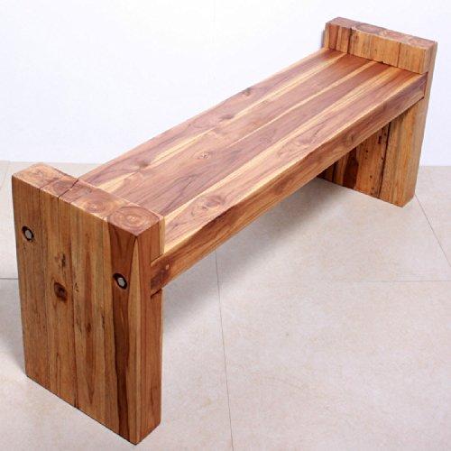 Farmed Teak Block Bench 48 x 12 x 19 inch Ht Seat = 16 KD w Eco Friendly Oak Oil by Haussmann